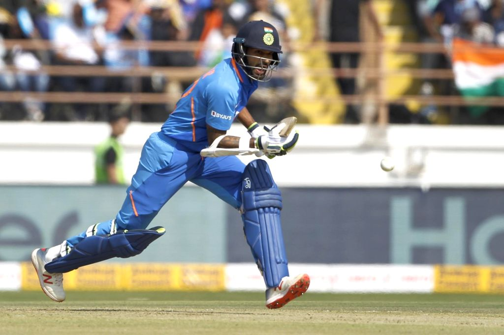 Rajkot: India's Shikhar Dhawan in action during the second ODI of the three-match series between India and Australia, at Saurashtra Cricket Association Stadium in Gujarat's Rajkot on Jan 17, 2020. (Photo: Surjeet Yadav/IANS) - Shikhar Dhawan and Surjeet Yadav