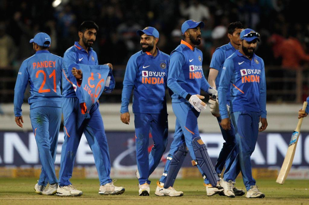 Rajkot: Indian players celebrate after winning the second ODI match against Australia, at Saurashtra Cricket Association Stadium in Gujarat's Rajkot on Jan 17, 2020. (Photo: Surjeet Yadav/IANS) - Surjeet Yadav