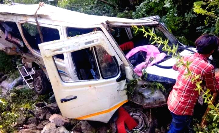 Rajouri: The mangled remains of a jeep that fell into a deep gorge killing five people and injuring five others in Jammu and Kashmir's Rajouri district, on June 23, 2019. (Photo: IANS)