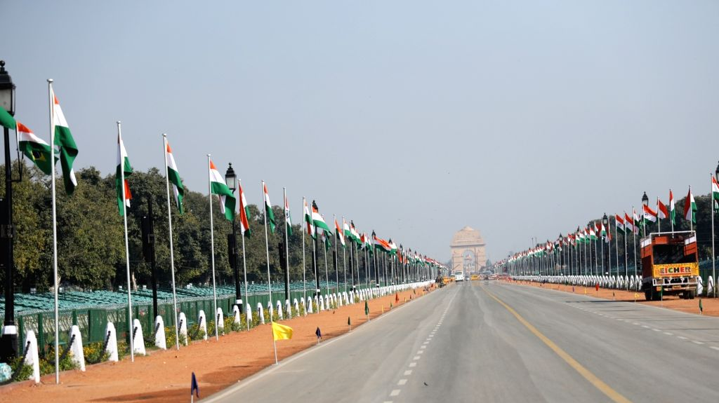 Rajpath seen decked up with tricolors on the eve of Republic Day celebrations, in New Delhi on Jan 25, 2020.