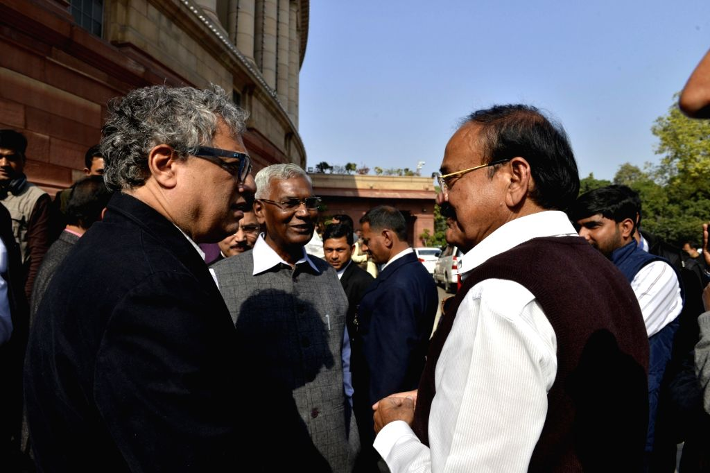 Rajya Sabha Chairman Venkaiah Naidu with TMC MP Derek O'Brien and CPI MP D Raja at Parliament on Feb 1, 2018. - Venkaiah Naidu