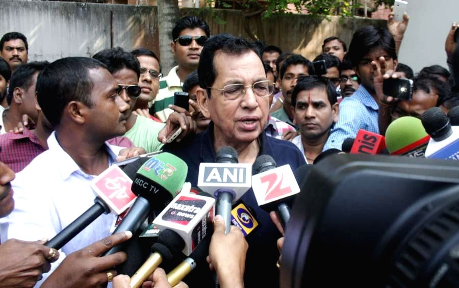 Rajya Sabha MP Pyarimohan Mohapatra, whose house was searched by the CBI in connection with a with the multi-crore rupees chit fund scam, talks to press in Bhubaneswar, on Nov 18, 2014. (Photo : ...