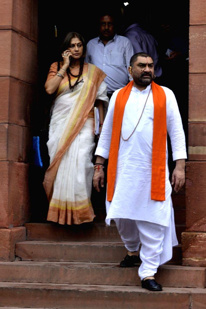 Rajya Sabha MP Roopa Ganguly at Parliament in New Delhi on Aug 9, 2017.