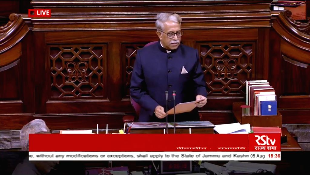 Rajya Sabha Secretary-General Desh Deepak Verma during debate on Jammu and Kashmir Reorganisation Bill in Rajya Sabha on Aug 5, 2019.