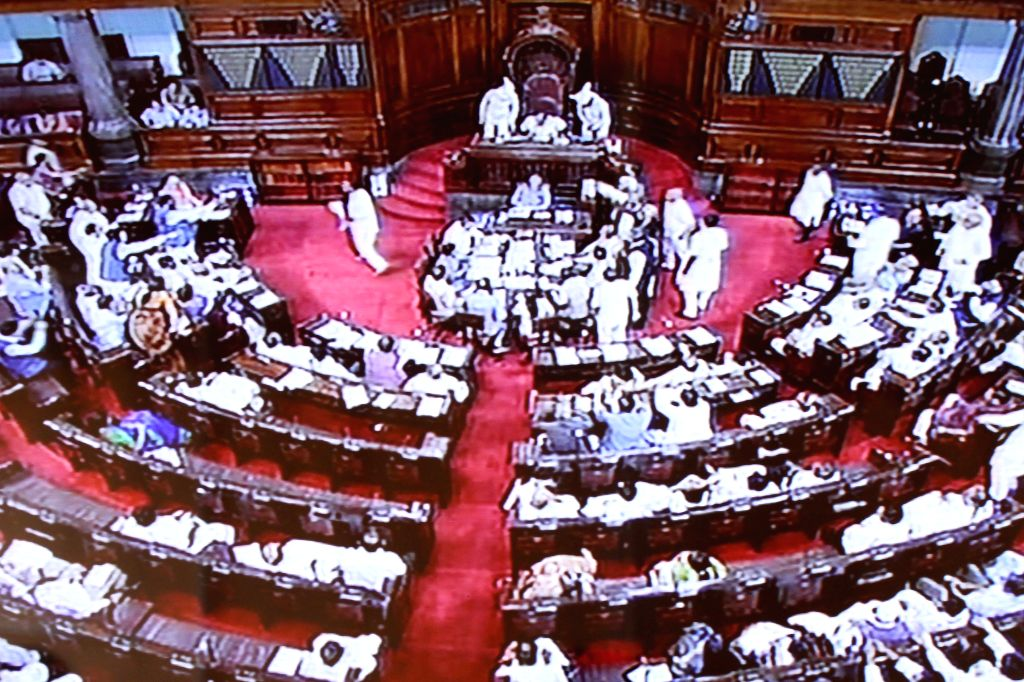 Rajya Sabha session underway at the Parliament in New Delhi, on Aug 10, 2015.