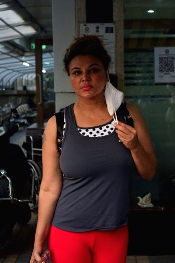 Rakhi Sawant Spotted Hospital in Juhu on Saturday 06th March, 2021.