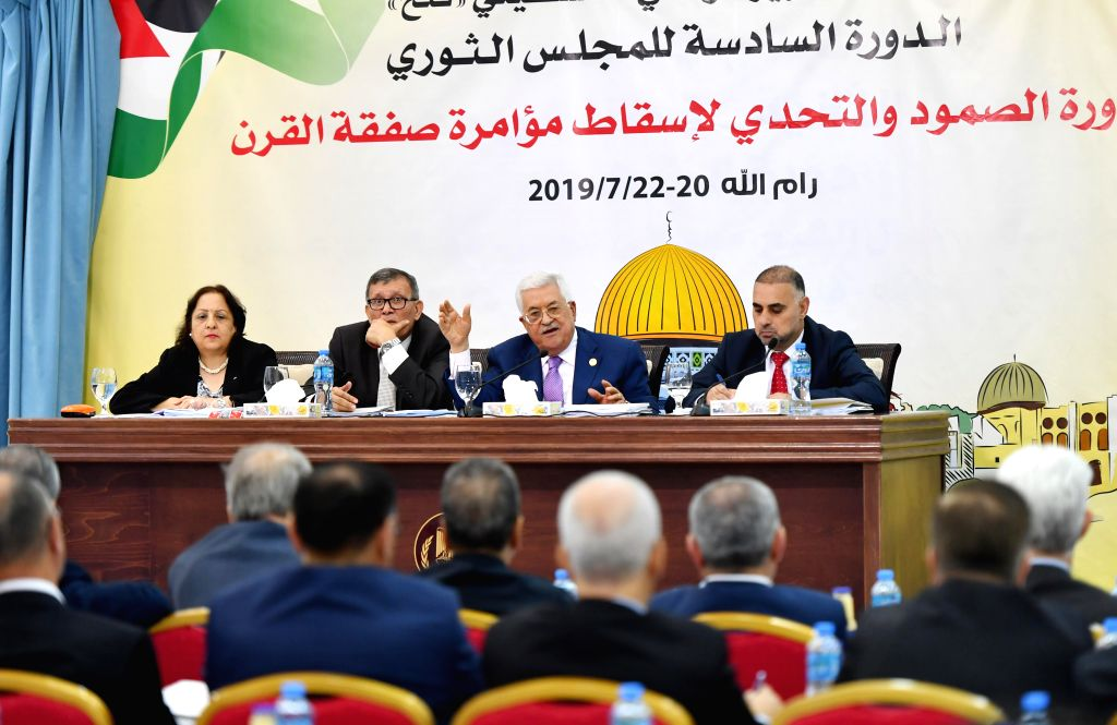 RAMALLAH, July 20, 2019 - Palestinian President Mahmoud Abbas (2nd R) addresses Fatah's Central Committee in the West Bank city of Ramallah, July 20, 2019. Mahmoud Abbas on Saturday reiterated his ...