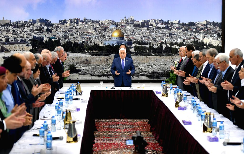 RAMALLAH, July 25, 2019 - Palestinian President Mahmoud Abbas (C) prays during a meeting of the Palestinian leadership in the West Bank city of Ramallah, on July 25, 2019. Palestinian President ...