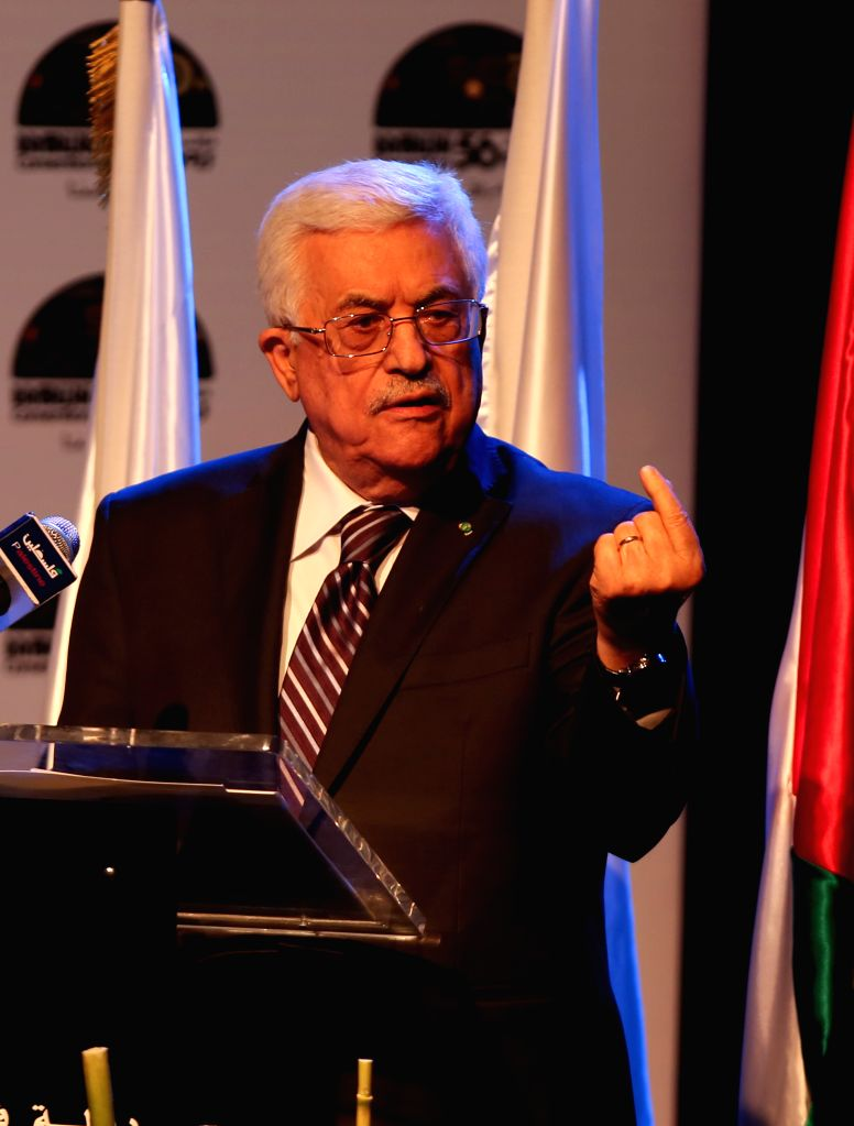 Palestinian President Mahmoud Abbas gives a speech during the 56th convention of the American Federation of Ramallah Palestine (ARFP) considered to be the largest .