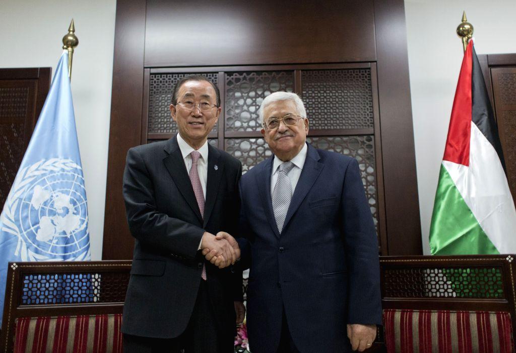 RAMALLAH, June 28, 2016 - United Nations Secretary General Ban Ki-moon (L) meets with Palestinian President Mahmoud Abbas in the West Bank city of Ramallah, on June 28, 2016. Palestinian President ...