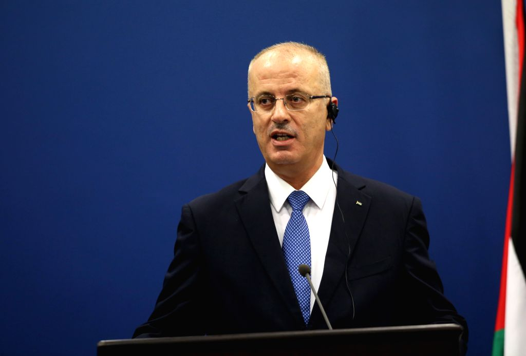 RAMALLAH, May 24, 2016 - Palestinian Prime Minister Rami Hamdallah speaks at a joint press conference with visiting French Prime Minister Manuel Valls (not in photo) in the west Bank city of ... - Rami Hamdallah