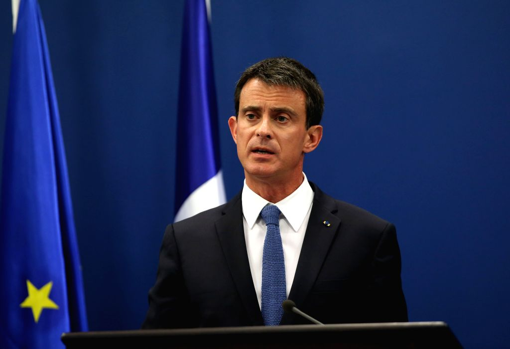 RAMALLAH, May 24, 2016 - Visiting French Prime Minister Manuel Valls speaks at a joint press conference with Palestinian Prime Minister Rami Hamdallah (not in photo) in the west Bank city of ... - Manuel Valls