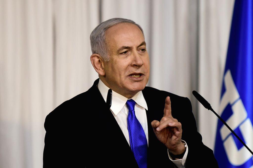 RAMAT GAN (ISRAEL), Feb. 21, 2019 (Xinhua) -- Israeli Prime Minister Benjamin Netanyahu delivers a statement in the town of Ramat Gan, east of Tel Aviv, Israel, on Feb. 21, 2019. Israel will hold general elections on April 9, 2019. (Xinhua/JINI/Tomer - Benjamin Netanyahu
