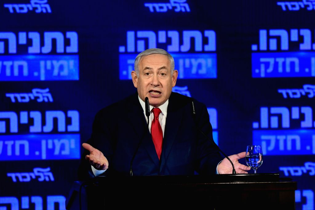 RAMAT GAN, March 4, 2019 - Israeli Prime Minister and the Likud Party leader Benjamin Netanyahu attends his party's election campaign event in Ramat Gan near Tel Aviv, Israel, on March 4, 2019. ...
