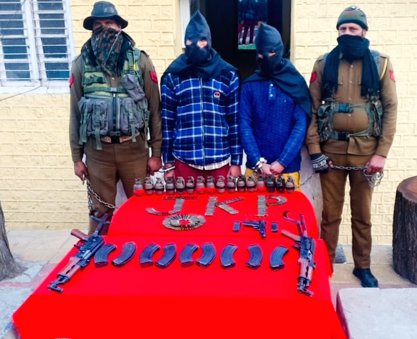 Ramban: District Police Ramban jointly with SOG Jammu busted a terror module on 18.01.2021 by arresting two valley based terror operatives and recovered huge cache of arms and ammunition from their possession. (Photo: IANS)