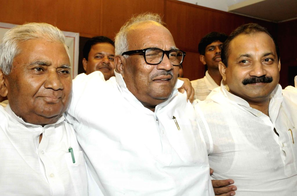 Ramchandra Purve of RJD, JD(U) leader Vashist Narayan Singh and Congress leader Ashok Choudhary during a press conference in Patna to announce their alliance to contest the upcoming Assembly ... - Vashist Narayan Singh and Ashok Choudhary