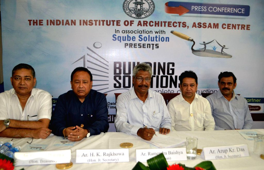 Ramendra Baishya, the Chairman of the Assam Centre of Indian Institute of Architects, during a press conference in Guwahati on Sept 10, 2014.