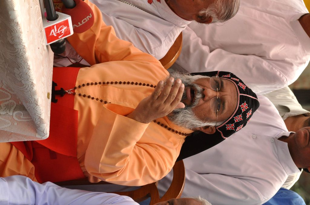 Catholic Bishops' Conference president Cardinal Baselios Cleemis addresses a press conference in Ranaghat of West Bengal on March 18, 2015.