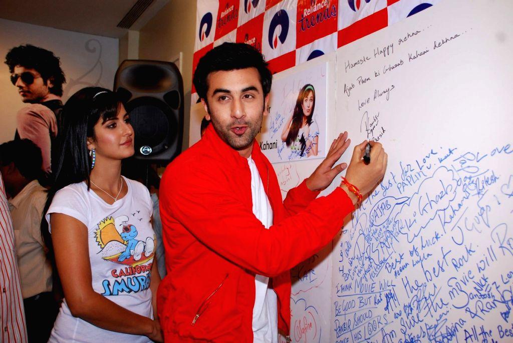 "Ranbir Kapoor and Katrina Kaif promote their film ""Ajab Prem ki Gazab Kahani"" at Reliance Trends."