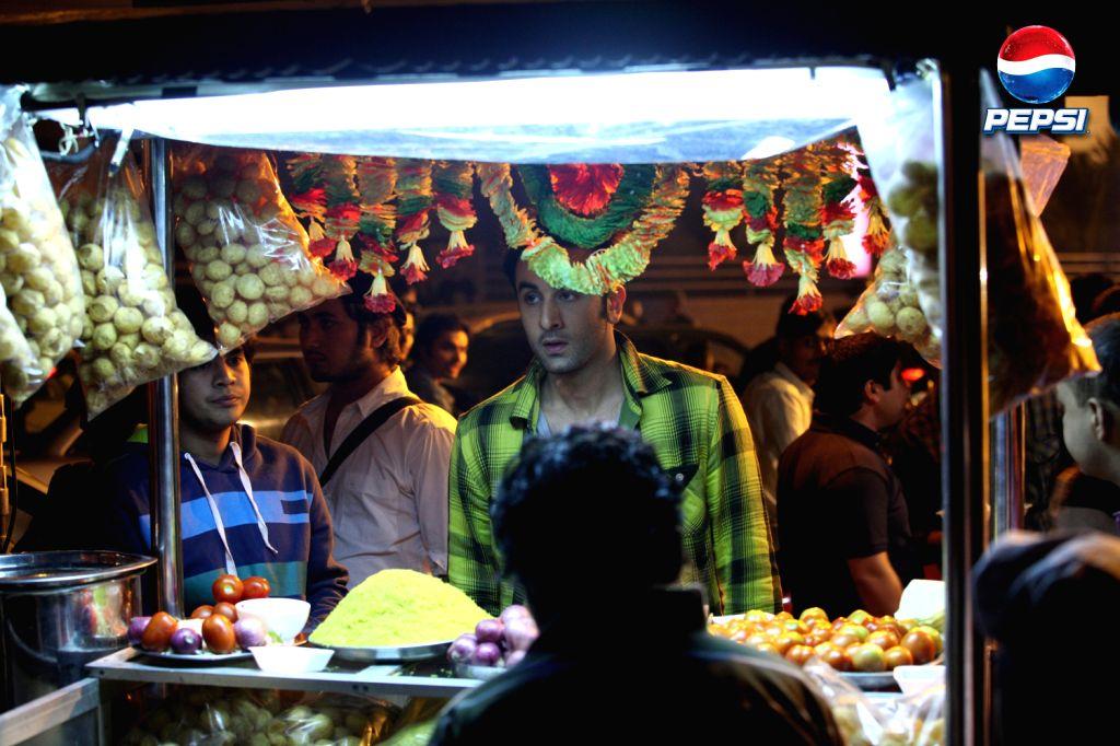 Ranbir Kapoor at a pani puri stall during the Pepsi ad shoot - Ranbir Kapoor