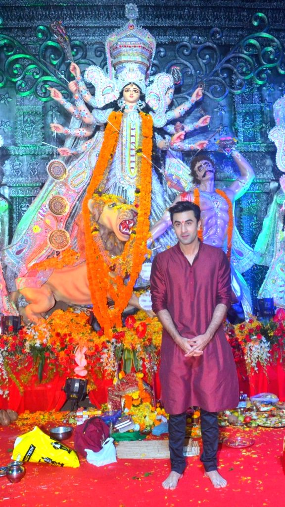 Ranbir Kapoor during North Bombay Durga Puja celebrations in Mumbai on Oct. 9, 2016. - Ranbir Kapoor