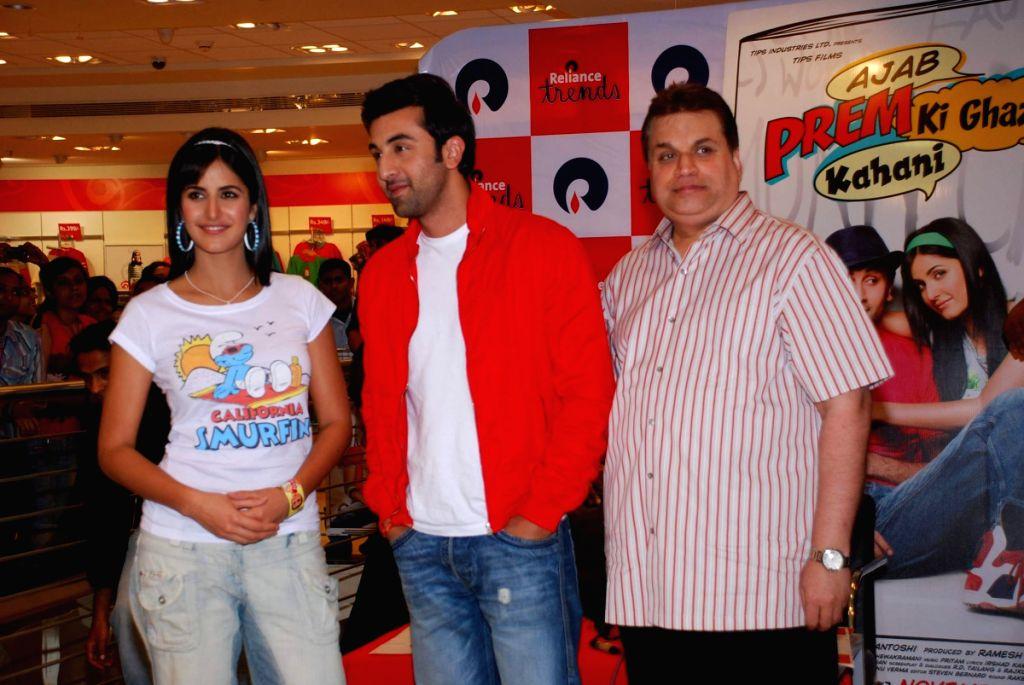 "Ranbir Kapoor, producer Ramesh Taurani and Katrina Kaif promote their film ""Ajab Prem ki Gazab Kahani"" at Reliance Trends."