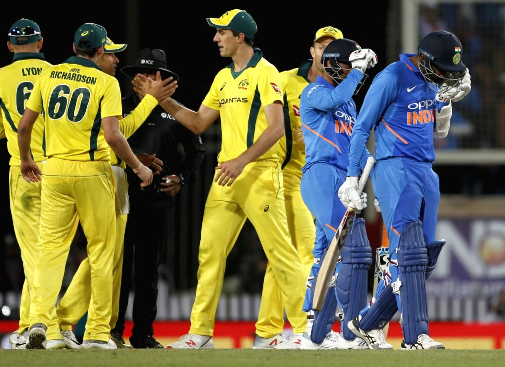 Ranchi: Australian players celebrate after winning the third ODI match against India at JSCA International Stadium Complex in Ranchi on March 8, 2019. (Photo: Surjeet Yadav/IANS) - Surjeet Yadav