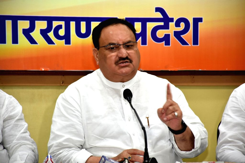 Ranchi: BJP Working President JP Nadda addresses a press conference ahead of Jharkhand Assembly election in Ranchi, on July 14, 2019. (Photo: IANS)