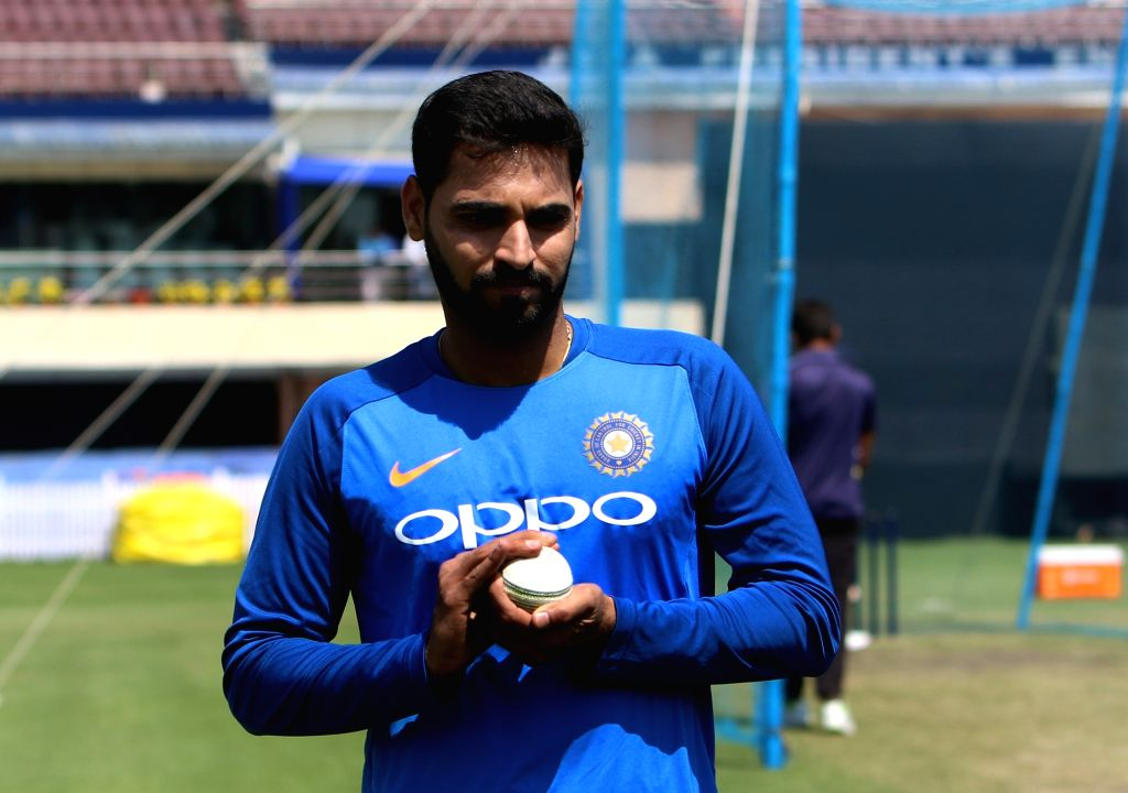 Ranchi: India's Bhuvneshwar Kumar during a practice session ahead of the third ODI match against Australia, in Ranchi, on March 7, 2019. (Photo: Surjeet Yadav/IANS) - Bhuvneshwar Kumar and Surjeet Yadav