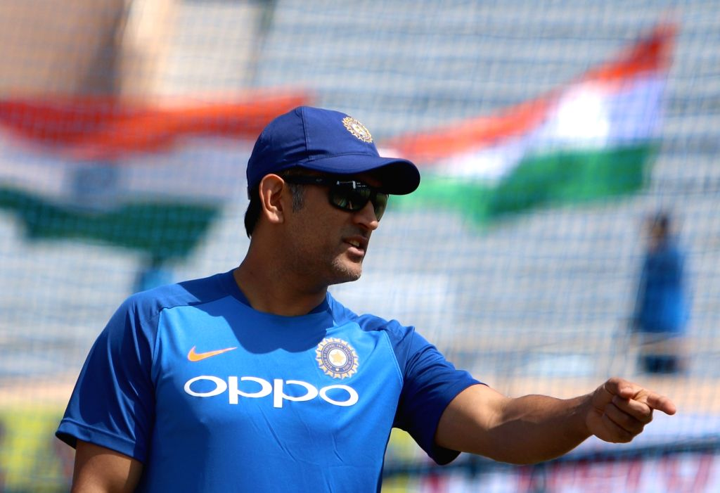Ranchi: India's MS Dhoni during a practice session ahead of the third ODI match against Australia, in Ranchi, on March 7, 2019. (Photo: Surjeet Yadav/IANS) - MS Dhoni and Surjeet Yadav
