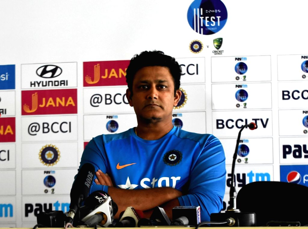 Ranchi: Indian cricket coach Anil Kumble addresses a press conference at JSCA stadium in Ranchi on March 14, 2017.