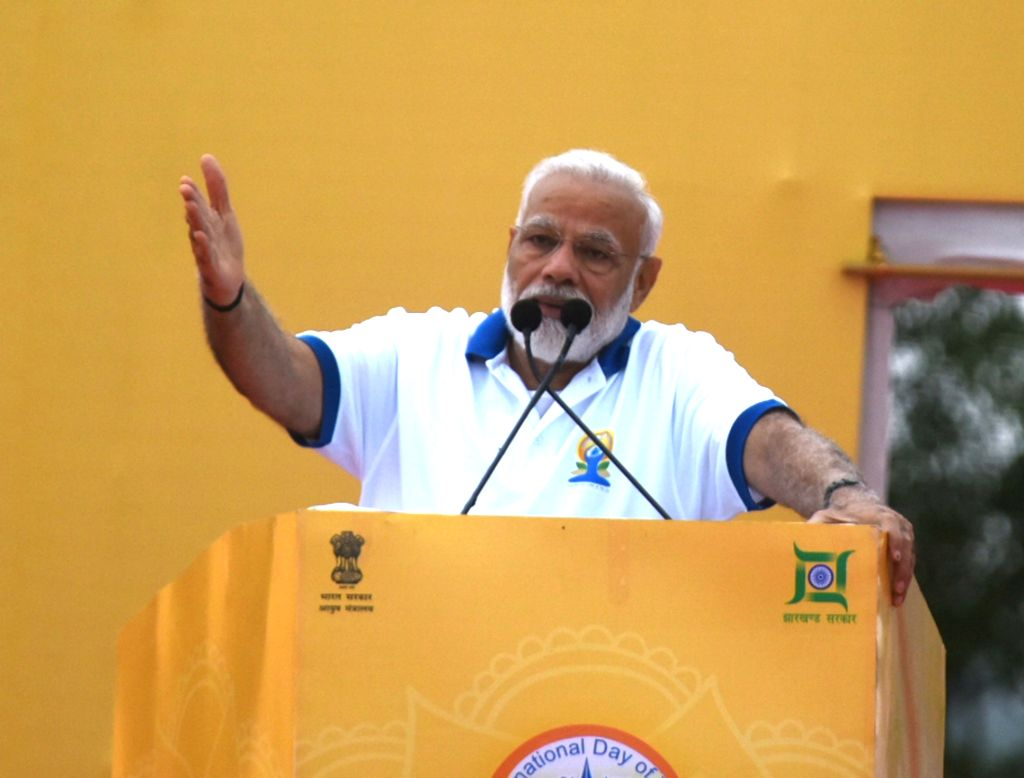 Ranchi: Prime Minister Narendra Modi addresses during International Yoga Day 2019 celebrations at Prabhat Tara Maidan in Ranchi on June 21, 2019. (Photo: IANS) - Narendra Modi