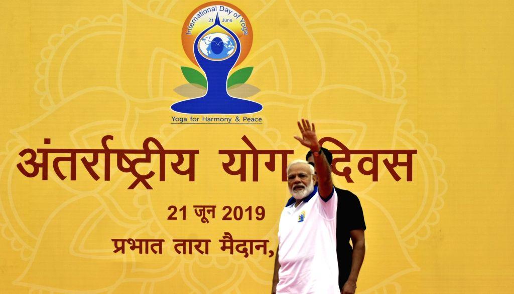 Ranchi: Prime Minister Narendra Modi during International Yoga Day 2019 celebrations at Prabhat Tara Maidan in Ranchi on June 21, 2019. (Photo: IANS) - Narendra Modi
