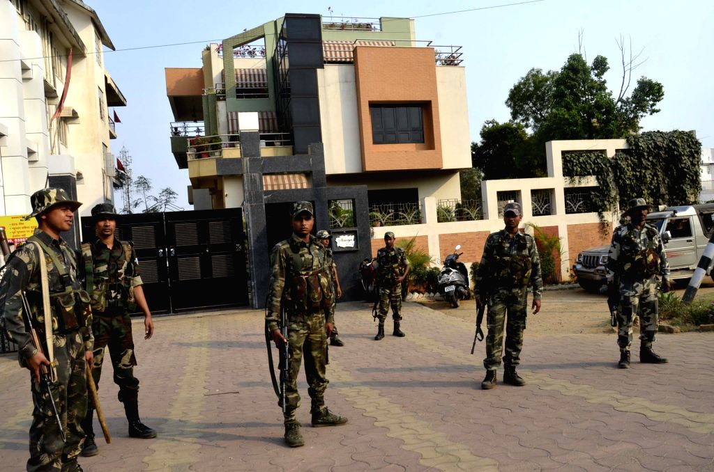 Security beefed-up outside the residence of Indian cricket captain MS Dhoni's residence after the team lost to Australia in the World Cup 2015 semi-final, in Ranchi, on March 26, 2015. - M