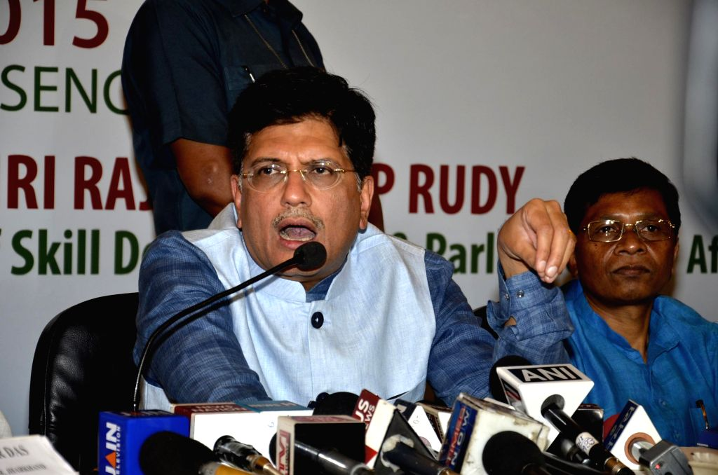 Union Minister of State (Independent Charge) for Power, Coal and New & Renewable Energy Piyush Goyal addresses during a programme organised to sign MoU between NTPC and Jharkhand ...