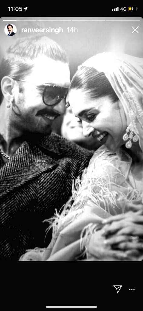 Ranveer Singh has never shied away from expressing his love for his wife, Deepika Padukone. On Friday, the actor shared a romantic black and white photograph of the couple taken at an award event here. In the image posted on Instagram Stories, Ranvee - Ranveer Singh and Deepika Padukone