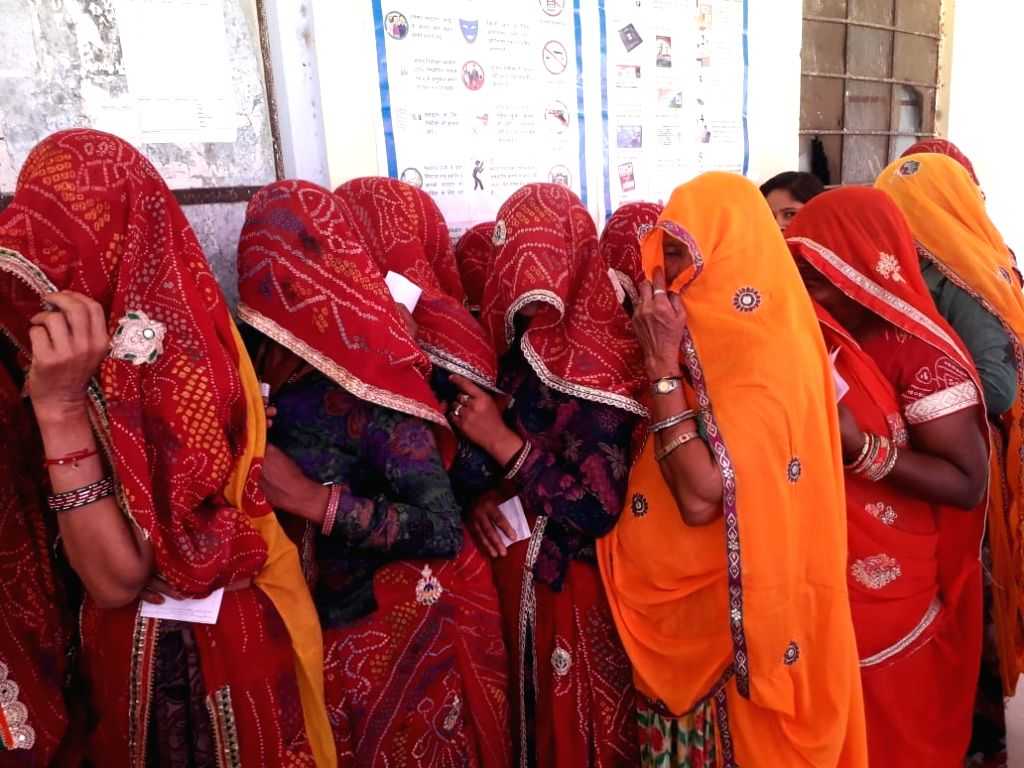 Ranwal : Women queue up to cast vote during the fifth phase of 2019 Lok Sabha election in Ranwal, Rajasthan on May 6, 2019.