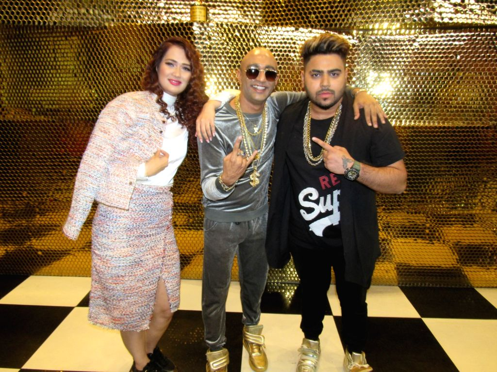"Rapper Akash Anil Dadlani with music artist Priyanka Goyat and rapper Mista Bazz at the launch of his song ""Bang Bang"", in New Delhi on June 30, 2018. - Priyanka Goyat"