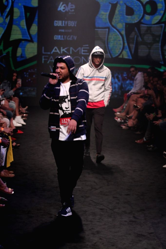 Rapper Naezy performs during Gully Gen's show at Lakme Fashion Week (LFW) Summer/Resort 2019 in Mumbai, on Feb 3, 2019.