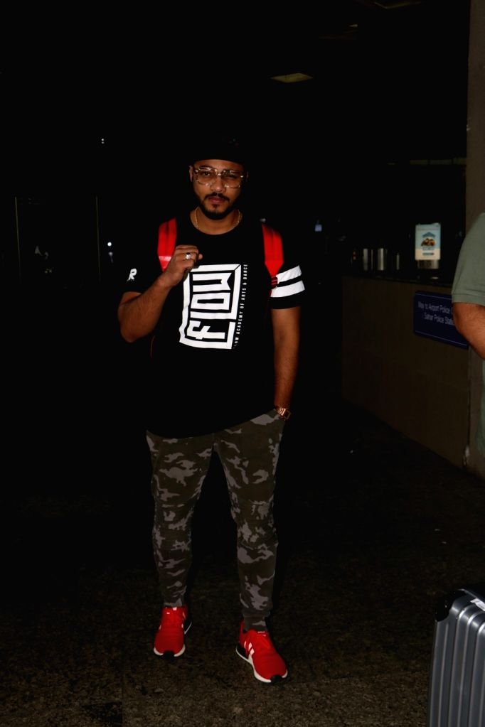 Rapper Raftaar spotted at airport in Mumbai, on Aug 19, 2017.