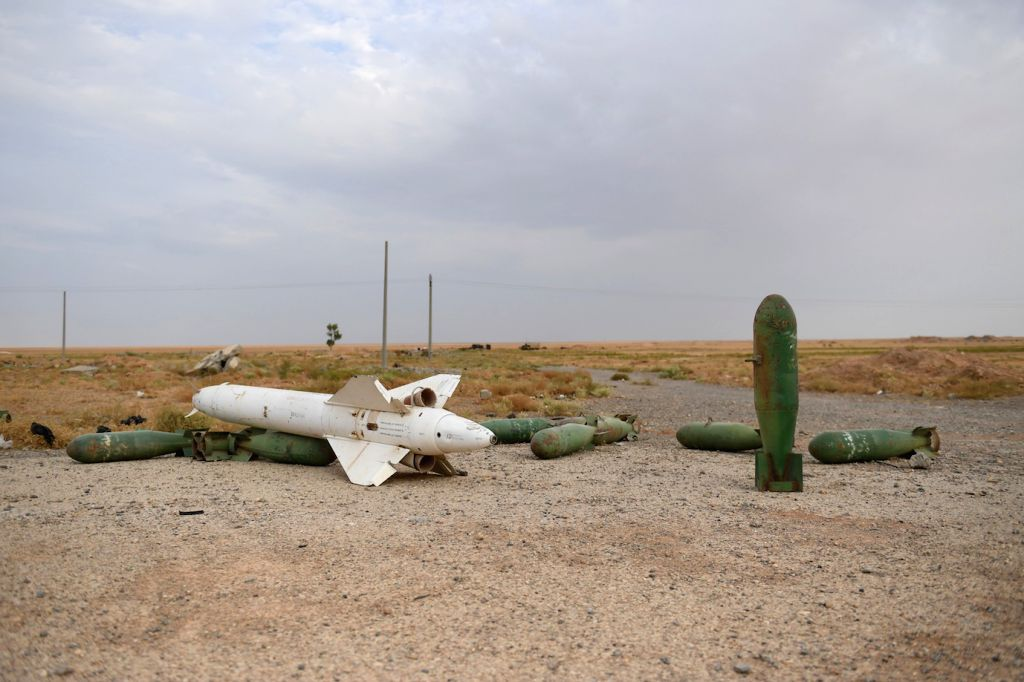 RAQQA (SYRIA), Oct. 16, 2019 Missiles are seen inside the Tabqa airbase in the Tabqa city of Raqqa province in northern Syria on Oct. 16, 2019. The Syrian army has entered the city of ...