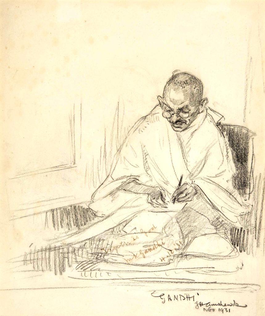 Rare pencil portrait of Mahatma Gandhi, drawn drawn by artist John Henry Amshewitz. - John Henry Amshewitz