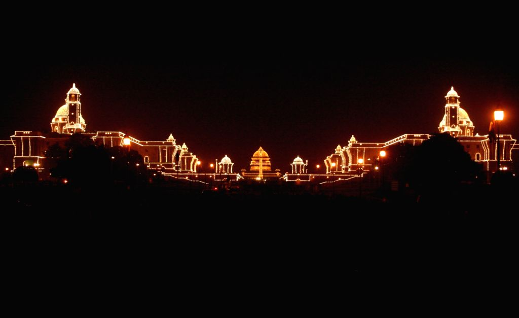 Rashtrapati Bhavan, North Block, South Block illuminated on the occasion of the Republic Day celebrations, in New Delhi