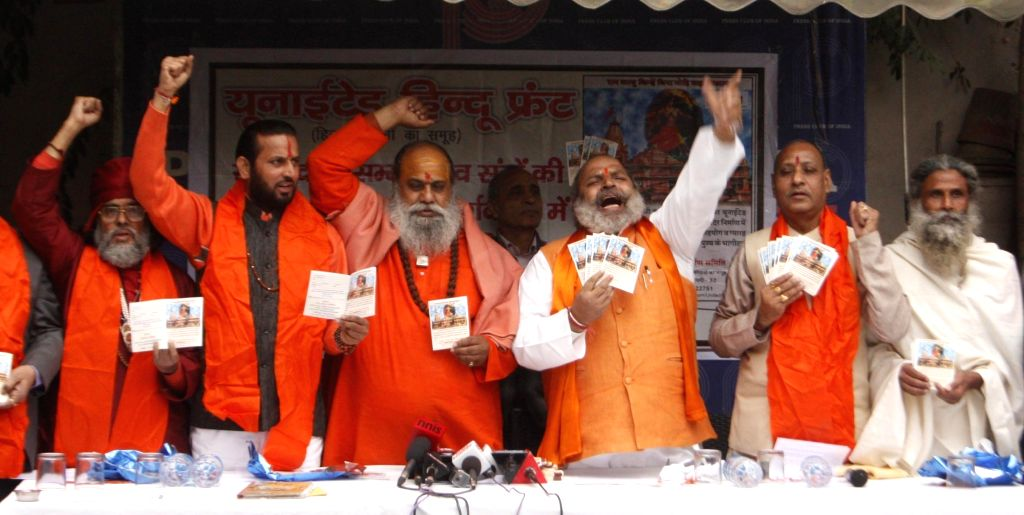 Rashtrawadi Shivsena founder Jai Bhagwan Goyal addresses a press conference in New Delhi on Jan 14, 2016.
