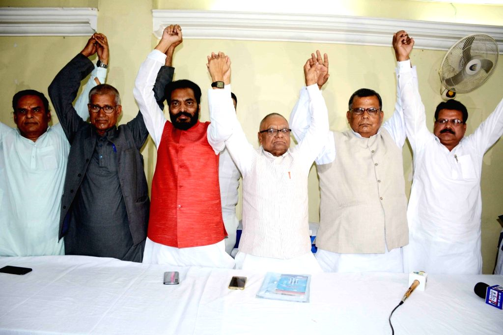 Rashtriya Janata Dal (RJD) leaders Mangni Lal Mandal and Ram Badan Rai during a press conference, in Patna on April 10, 2019. - Badan Rai