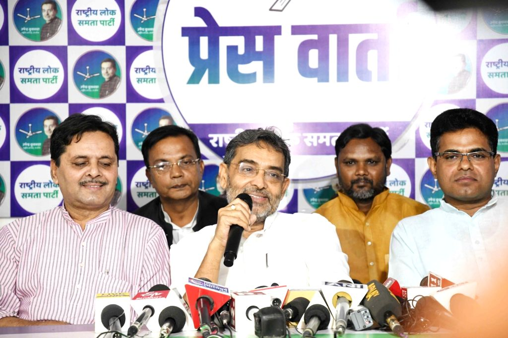 Rashtriya Lok Samata Party chief Upendra Kushwaha addresses a press conference in Patna on Oct 16, 2019.