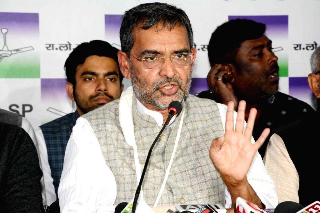 Rashtriya Lok Samata Party (RLSP) chief Upendra Kushwaha addresses a press conference in Patna on Feb 6, 2019.