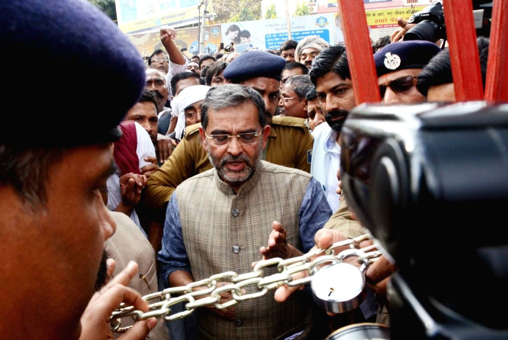 Rashtriya Lok Samata Party (RLSP) chief Upendra Kushwaha arrives at Kotwali police station against the police lathicharge on 2nd Feb during a protest; in Patna, on Feb 9, 2019.