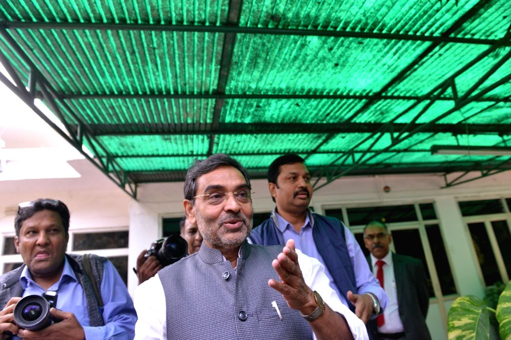 Rashtriya Lok Samata Party (RLSP) leader Upendra Kushwaha addresses a press conference in New Delhi, on Dec 10, 2018. Kushwaha, who was a Minister of State for Human Resource Development ...