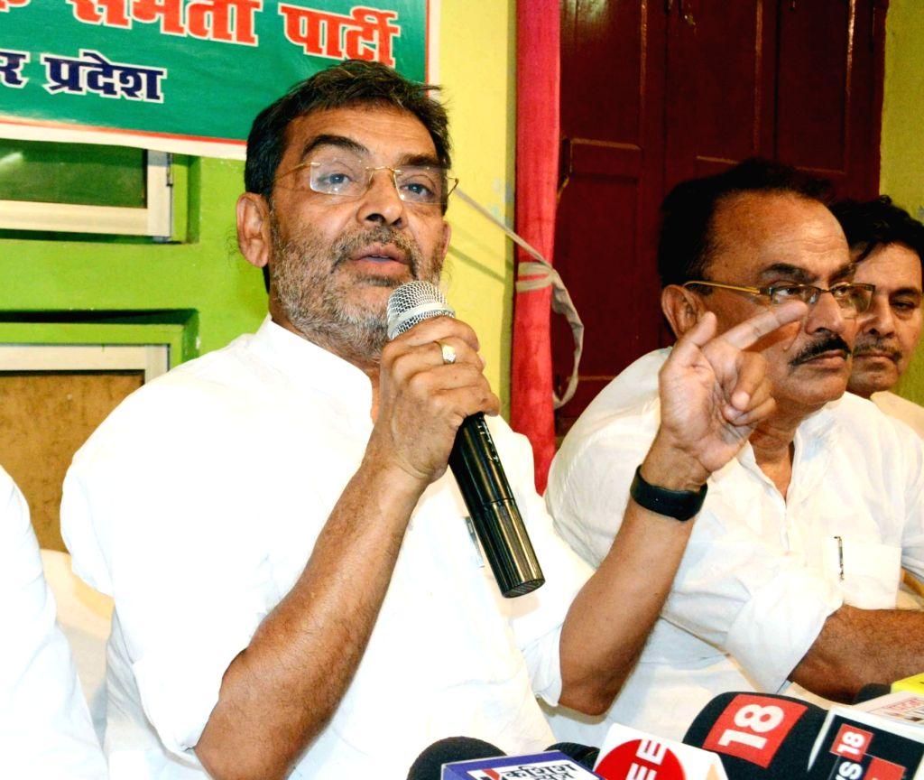 Rashtriya Lok Samata Party (RLSP) President Upendra Kushawaha addresses a press conference, in Patna, on June 2, 2019.